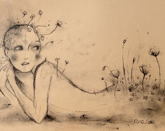 Untitled - Original Illustration - 13 X 19 - Charcoal and Ink