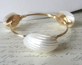 "White Mother of Pearl Shell Bangle Bracelet ""Bourbon and Bowties"" Inspired"