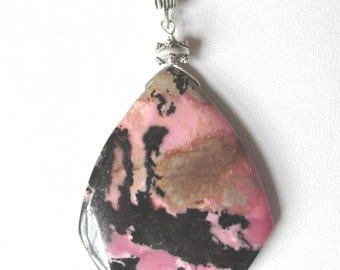 Rhodonite Shield Pendant on Black Braided Leather with Bali Handmade Sterling Silver Bail, End Caps and Clasp