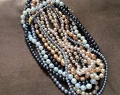 bulk lot of 9 faux pearl necklaces - various sizes, shapes colors sold AS IS