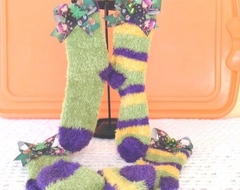 Monster Girl High Fuzzy Socks Teens N Adults ...Halloween, Partywear, Photo Prop, Monster High INspired,