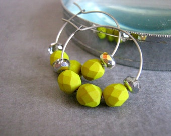 Chartreuse Earrings : Beaded Hoops