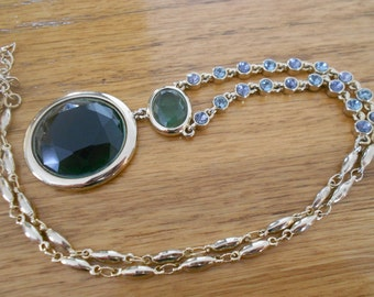 Vintage Swarovsky crystal and green glass necklace.  Faceted.