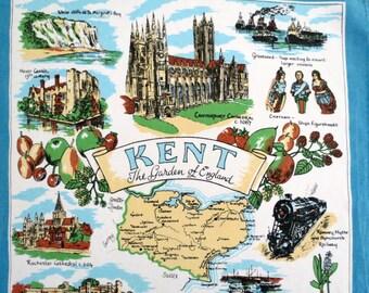 English Tea Towel,  Souvenir Tea Towel, Sally Jane Textiles, Scenes from Kent The Garden of England,  Vintage Linens by TheSweetBasilShoppe