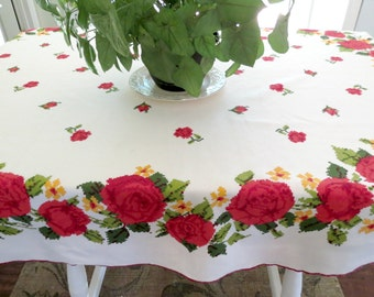 "Large Oval Tablecloth,  Vintage Linen Tablecloth, Deep Red Roses, 76"" by 59"" Cottage Chic Tablecloth, Vintage Linens by TheSweetBasilShoppe"