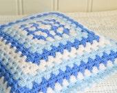 "Blue and white crochet granny pillow, handmade retro home decor, made in Sweden, 11 x 11 "", including insert"