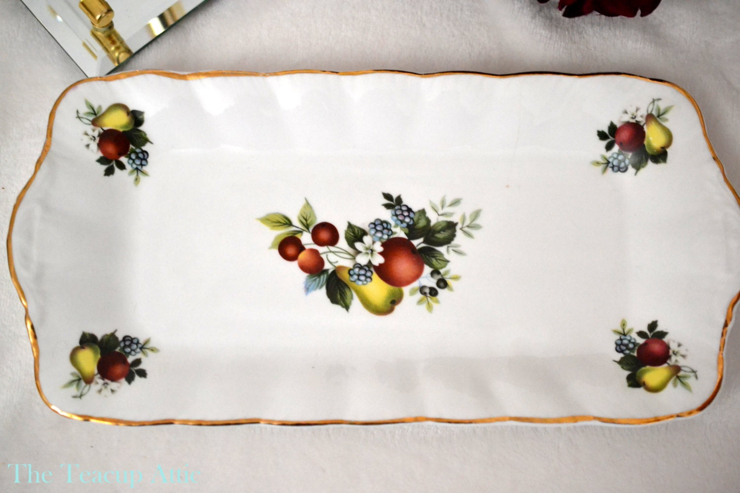 ON SALE Liverpool Road Pottery Fruit Motif Sandwich Tray, Bone China Sandwich Tray, Garden Tea Party, Wedding Gift,  ca. unknown