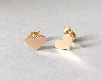 Tiny Heart Post Earrings Gold Fill, Rose Gold Fill, or Sterling Silver