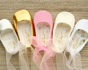 Baby ballet shoes, baby ballerina shoes, white ivory pink gold silver shoes, christening shoes, ballerina baby shower gift, wedding shoes