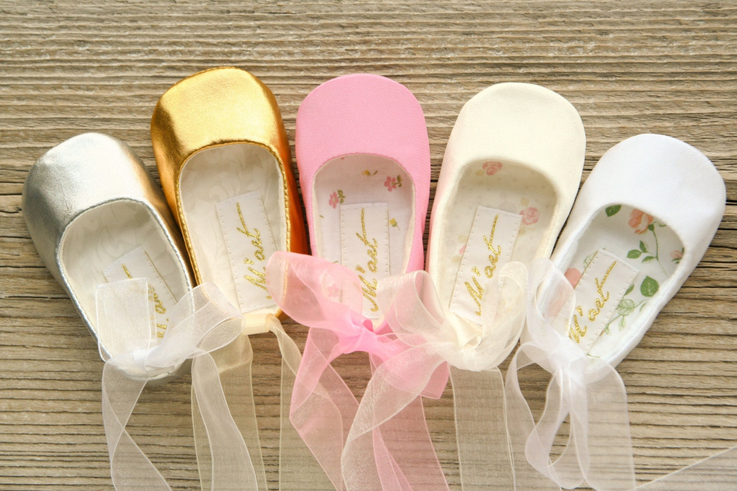 Baby ballet shoes baby ballerina shoes white ivory pink gold