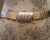 Vintage Gold Belt Elastic Stretch Mermaid Fish Scale Medium Large Xlarge