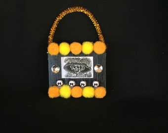Orange Black and Yellow La Catrina day of the dead Pom Pom Wood ornament