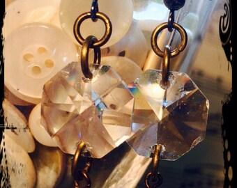 Stunning Pink, Earrings, Crystal Shaped flower beads, Boho, Gypsy Chic Style, Repurposed/vintage chandelier crystal  By: Kari Wolf Designs