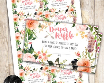 Diaper Raffle Insert, Arrows, Baby Shower, Tribal, TeePee Pow Wow, Flowers, Watercolor, Feathers-  DIY INSTANT DOWNLOAD