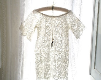 Boho Bohemian Gypsy Downton Abbey Off Shoulder White French Lace Dress Bell Sleeves Romantic Angel