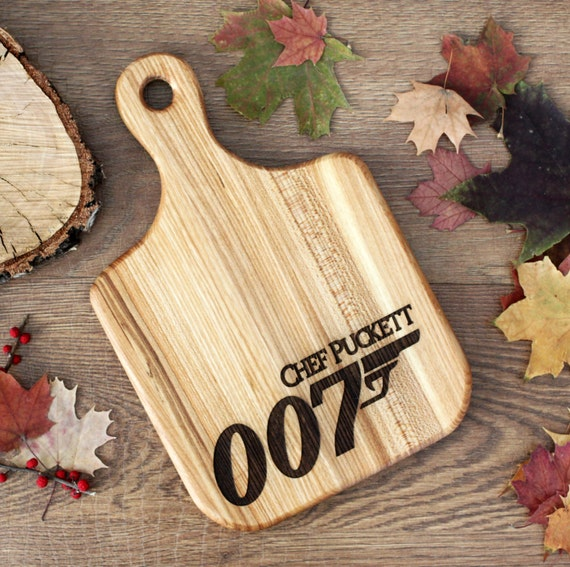 007 cutting board -  James Bond Wooden Cutting Board Laser Engraved - Personalized Engraved Cutting Board