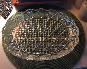 Mikasa Georgetown Platter, Fan & Cross Hatch Design, Vintage
