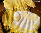 Vintage baby Crochet Crocheted Crocheting Pattern for DRESS and angel top PDF B103 from WonkyZebra