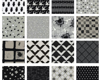 Black and White 2016 - Fat Quarter Bundle - Cotton + Steel - (CSBW2016-FQ) - 16 Prints