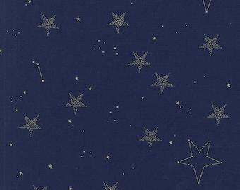 Magic -  Lucky Stars in Navy Metallic - Sarah Jane for Michael Miller - MD7194-NAVY-D - 1/2 Yard