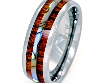 Tungsten Men's Ring Hawaiian Koa Wood and Abalone 8mm Wedding Band Comfort Fit