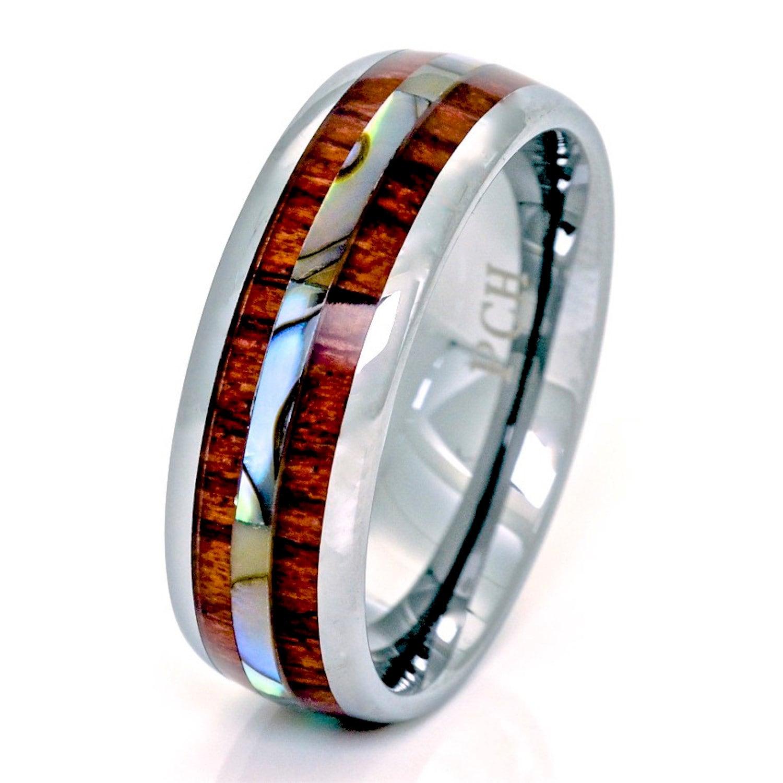 Tungsten Men's Ring Hawaiian Koa Wood And Abalone 8mm