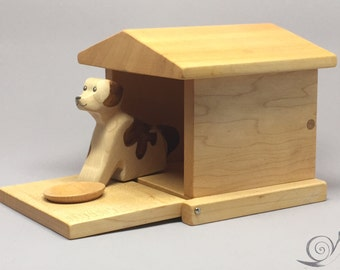 Toy Dog + Doghouse wood colourful  | Size: 28,0 x 12,0  x 9,5 cm (b x h x s)  ca. 440,0 gr.
