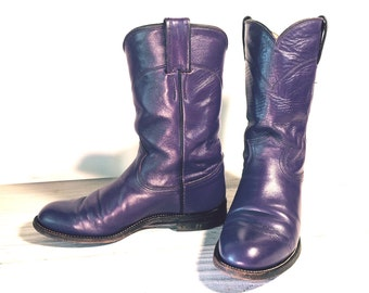 Vintage Cowboy Boots, Justin Classic Ropers, Purple All Leather, Women's size 6 C