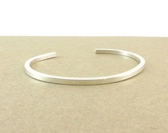 Argentium Silver Bangle Bracelet, Recycled Silver Cuff, Sterling Silver Bracelet, Handmade Silver Cuff Bracelet, Gift Under 100