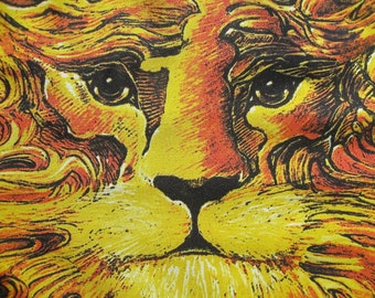 Sun Lion by Stanley Mouse Deadhead Art Cloth Banner/Poster/Scarf Made in Italy Vintage 1990 With Signature