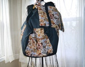 Extra Extra Large Black Canvas BAckpack with Wild Cat Trim