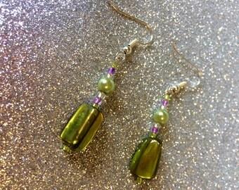 Lime Green Glass Rocaille Earrings  - Tropical Summer by JulieDeeleyJewellery on Etsy