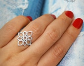 Lotus Diamond Ring, Unique Engagement Ring, 14K White Gold Ring, Pave Diamond Ring, Cluster Ring, Flower Ring, Vintage Rings  14K White Gold