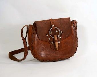 Vintage Boho Tooled Leather Shoulder Bag, Metal Studs Wooden Dowel, 60s/70s Hippie Festival Handbag, Braided Leather Strap
