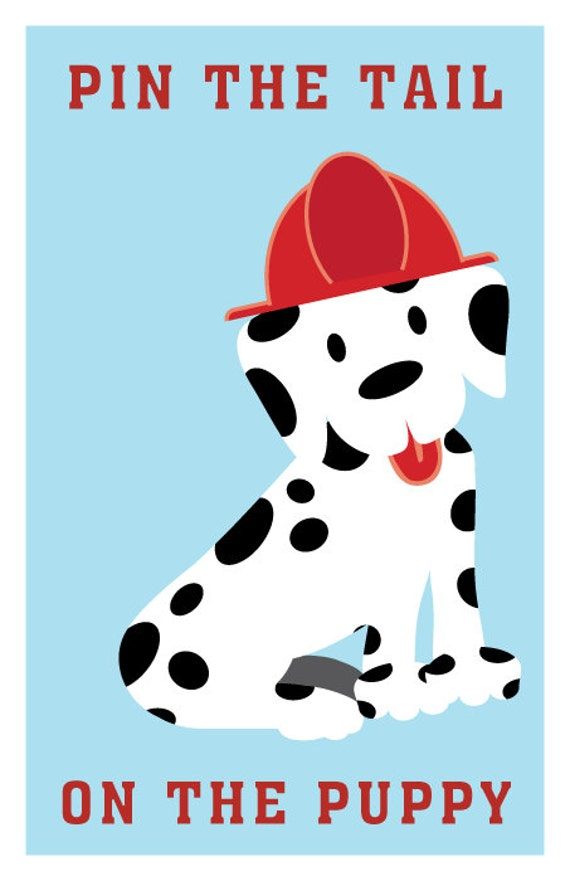 INSTANT DOWNLOAD Pin the Tail on the Puppy Fire Truck
