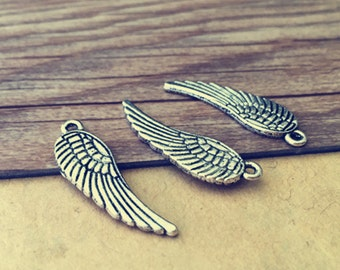 25pcs antique silver Double sided wings Charms pendant 10mmx31mm