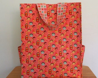 Pink Tote with Owls and Flowers, Shopping Bag, Reusable Grocery Bag, Fun Tote with Pockets, Carry All Bag, Happy Flapper Owl Hideout