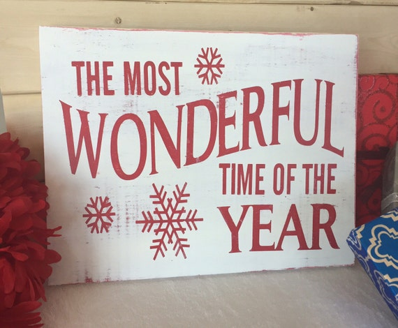 Items Similar To Hand Painted Christmas Wooden Sign Red