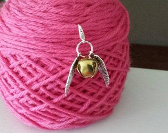 Snitch-Large- Knitting/Crochet Stitch Marker-Progress Keeper-Project Bag Zipper Charm-Purse/Planner/Cell Charm*Harry Potter*Golden Snitch
