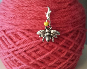 Bee Knitting Stitch Marker-Project Bag Zipper Charm-Purse Charm-Cell Phone Charm-Progress Keeper-Bumble Bee*Planner Charm