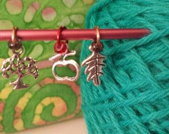 Fall Theme Knitting Stitch Markers Set of 3-Small Ring Knit Markers Fits to US4*Sock Stitch Markers*Tree*Leaf*Apple*Rhinebeck Theme