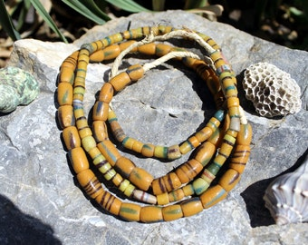 2 Strands Vintage African Trade Beads, Pressed Glass, Sand Cast, Beads Traveling the Globe, T. 75