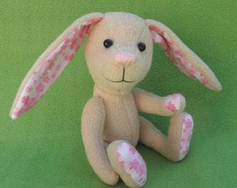 Rose - Tan Easter Bunny, Artist soft sculpture rabbit, plush rabbit