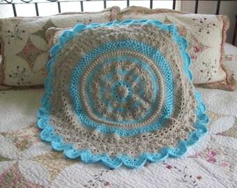 Blanket,Afghan,Cover,Gift,Shower,Babies,Infants,Crocheted,Photos,Tan,Light Blue,Stroller,Round,Circular
