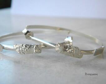 Silver hoops handmade earrings, hammered silver hoop, geometric earrings