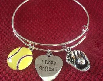 I Love Softball Bracelet