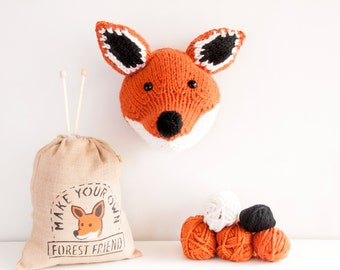 Faux Fox Knitting Kit - Make Your Own Forest Friend - Taxidermy Trophy Head Pattern