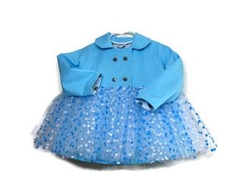 Tutu Coat, Toddler Tutu Coat, Girls Coat, Girls Tutu Coat shown with Aqua Blue and White Tutu