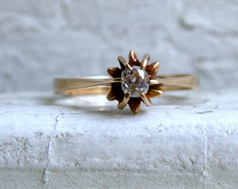 Vintage 18K Yellow Gold Old Mine Cut Cushion Diamond Solitaire Engagement Ring.