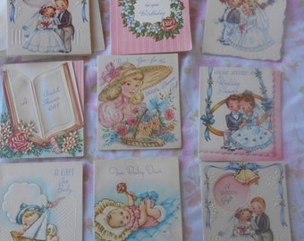 Set of 9 Unused Vintage Gift Cards for Weddings, Showers, and New Baby Greeting Cards